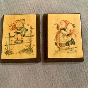 •Vintage• Hummel Decoupage on Wood Pictures